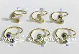 NGR1115 6mm coin  mixed gemstone rings wholesale