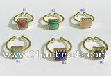 NGR1139 10mm square  mixed gemstone rings wholesale