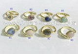 NGR1143 8*10mm faceted flat droplet mixed gemstone rings wholesale