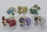 NGR154 8*10mm - 15*20mm nuggets druzy quartz rings wholesale