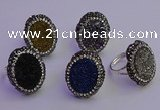 NGR2169 22*28mm - 22*30mm flower plated druzy agate rings