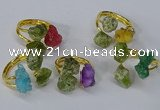 NGR217 5*8mm - 6*10mm freeform druzy agate & peridot rings wholesale