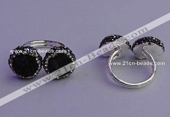 NGR2174 12mm - 14mm coin plated druzy agate rings wholesale