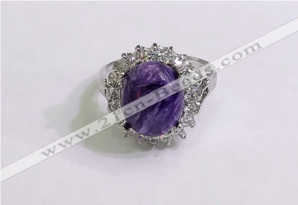 NGR3024 925 sterling silver with 10*12mm oval charoite rings