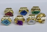 NGR380 15*20mm - 20*25mm freeform druzy agate rings wholesale