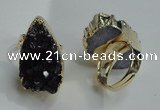 NGR82 20*25mm - 20*30mm freeform druzy amethyst gemstone rings