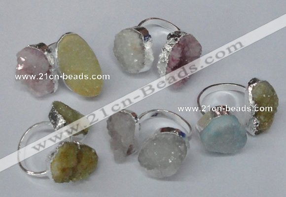 NGR93 15*20mm - 18*25mm freeform plated agate druzy rings